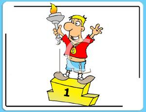 Colorful Cartoon of a Champion Standing on a Riser with a Victory.