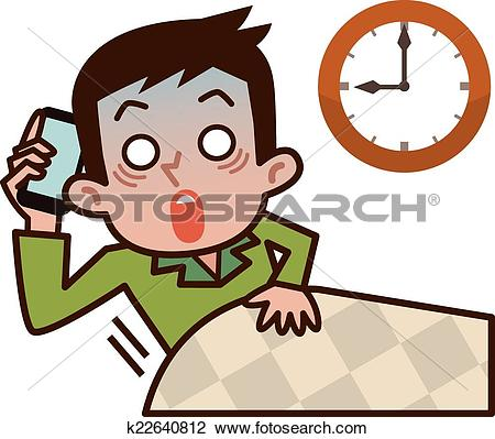 Clipart of Businessman to call by late riser k22640812.