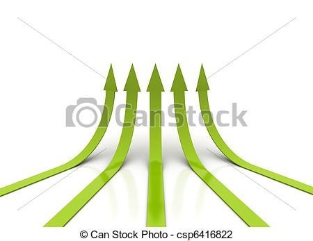 Clip Art of Green arrows going up.