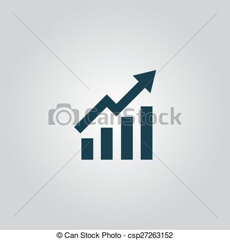 Clipart Vector of Growing bars graphic icon with rising arrow.