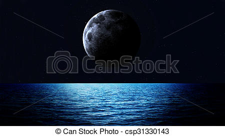 Drawing of Rising moon over sea. Elements of this image furnished.