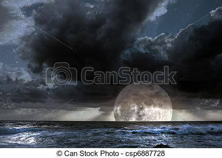 Stock Illustration of Rising moon in ocean.