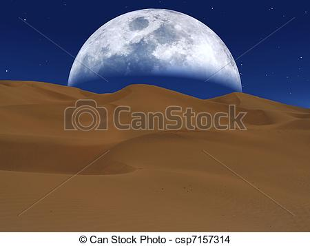 Drawing of White moon rising over a desert landscape csp7157314.
