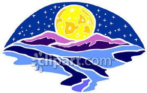 Moon rise clipart.