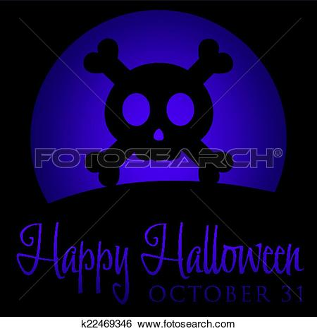 Clip Art of Skull and cross bones rising moon Halloween card in.