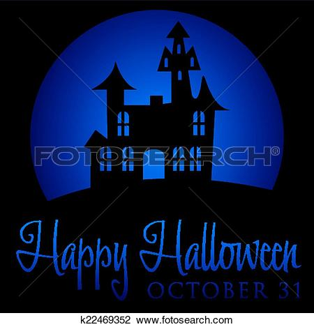 Clipart of Haunted house rising moon Halloween card in vector.