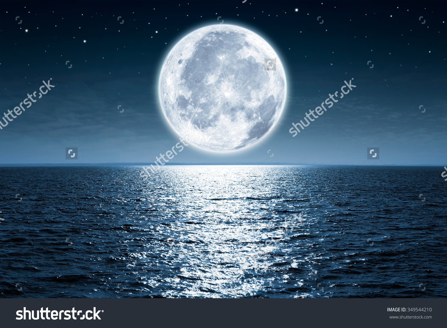 Full Moon Rising Over Empty Ocean Stock Photo 349544210.