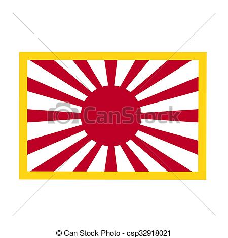 Clip Art of Japan Rising Sun Flag.
