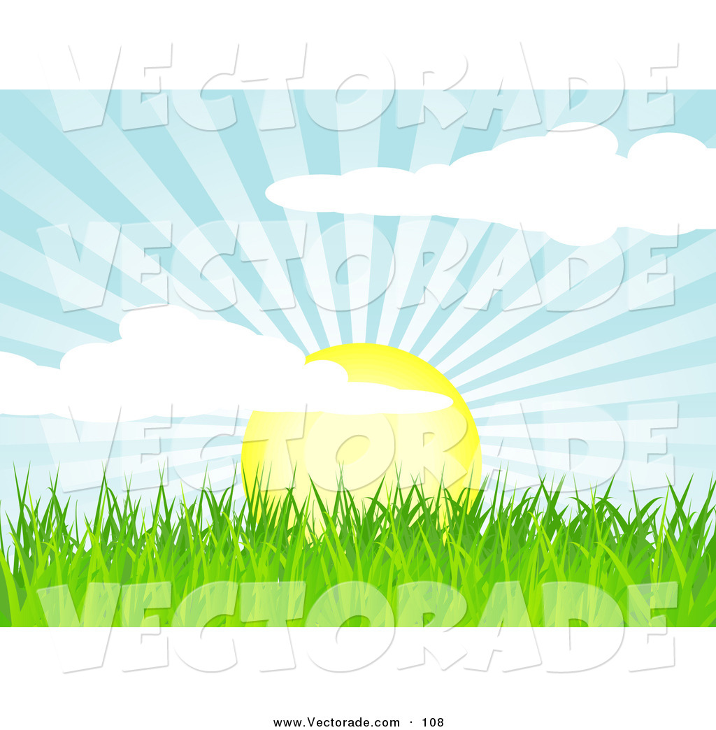 Clipart Rising Sun With Grass.