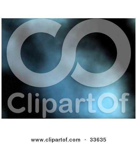Clipart Illustration of Blue Smoke Twirling And Rising Over A.