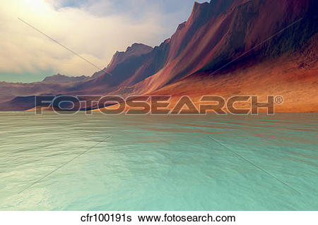 Stock Illustration of Mountains rise gently toward the sky with.