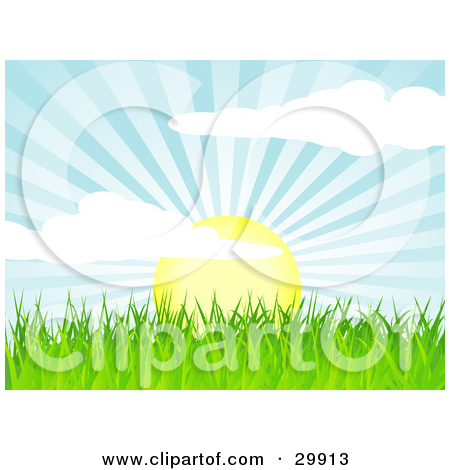 Clipart Illustration of The Sun Rising Over Green Grass, Casting.