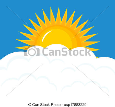 Vector Illustration of Sun rise over clouds.