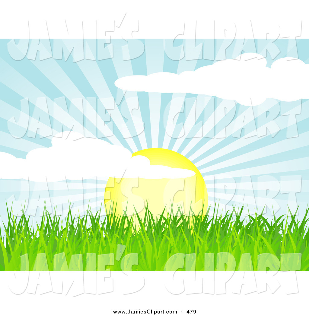 Clip Art of a the Spring Sun Rising over Green Grass, Casting Rays.