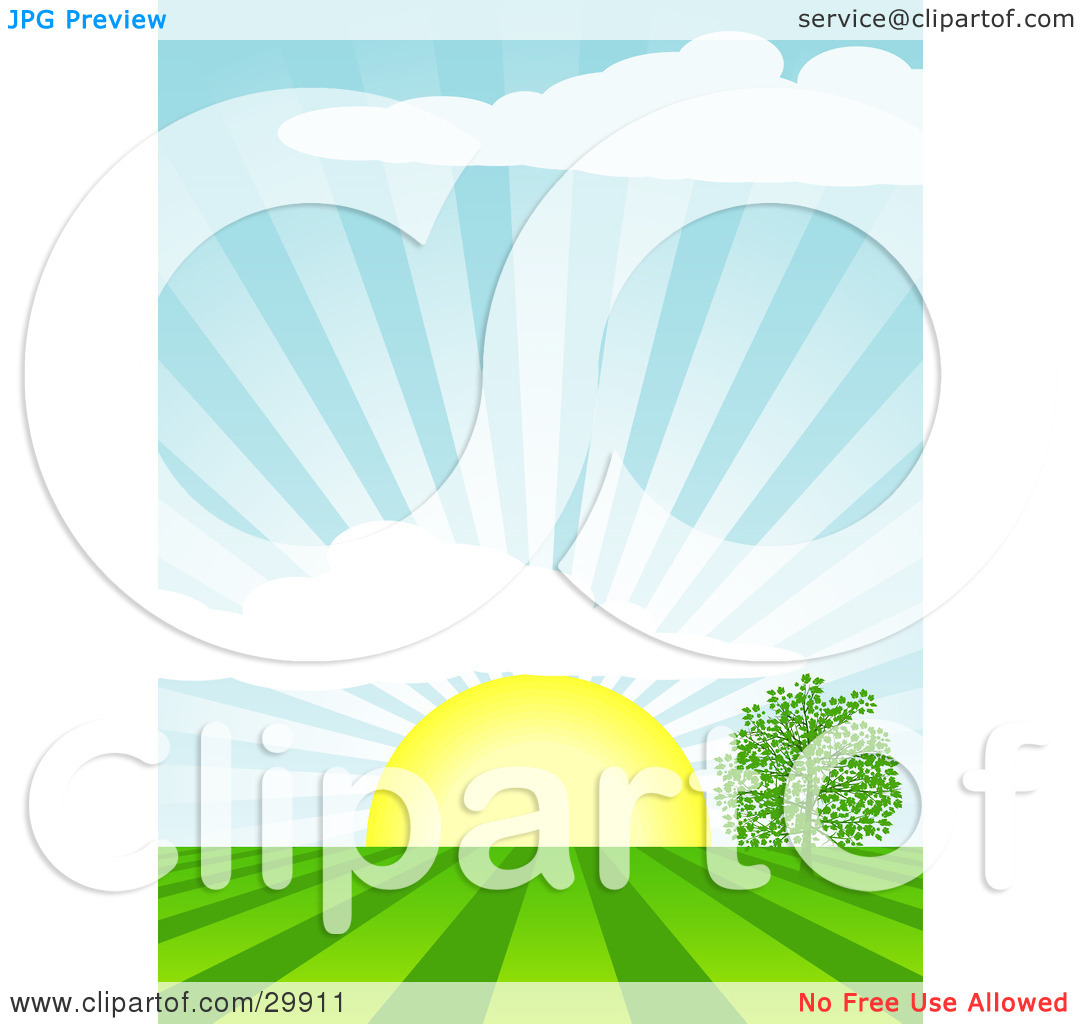 Clipart Illustration of The Morning Sun Rising Over A Tree In A.