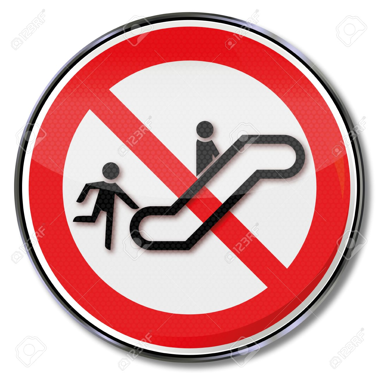Sign Escalator Risk Of Accidents By Hurry Royalty Free Cliparts.