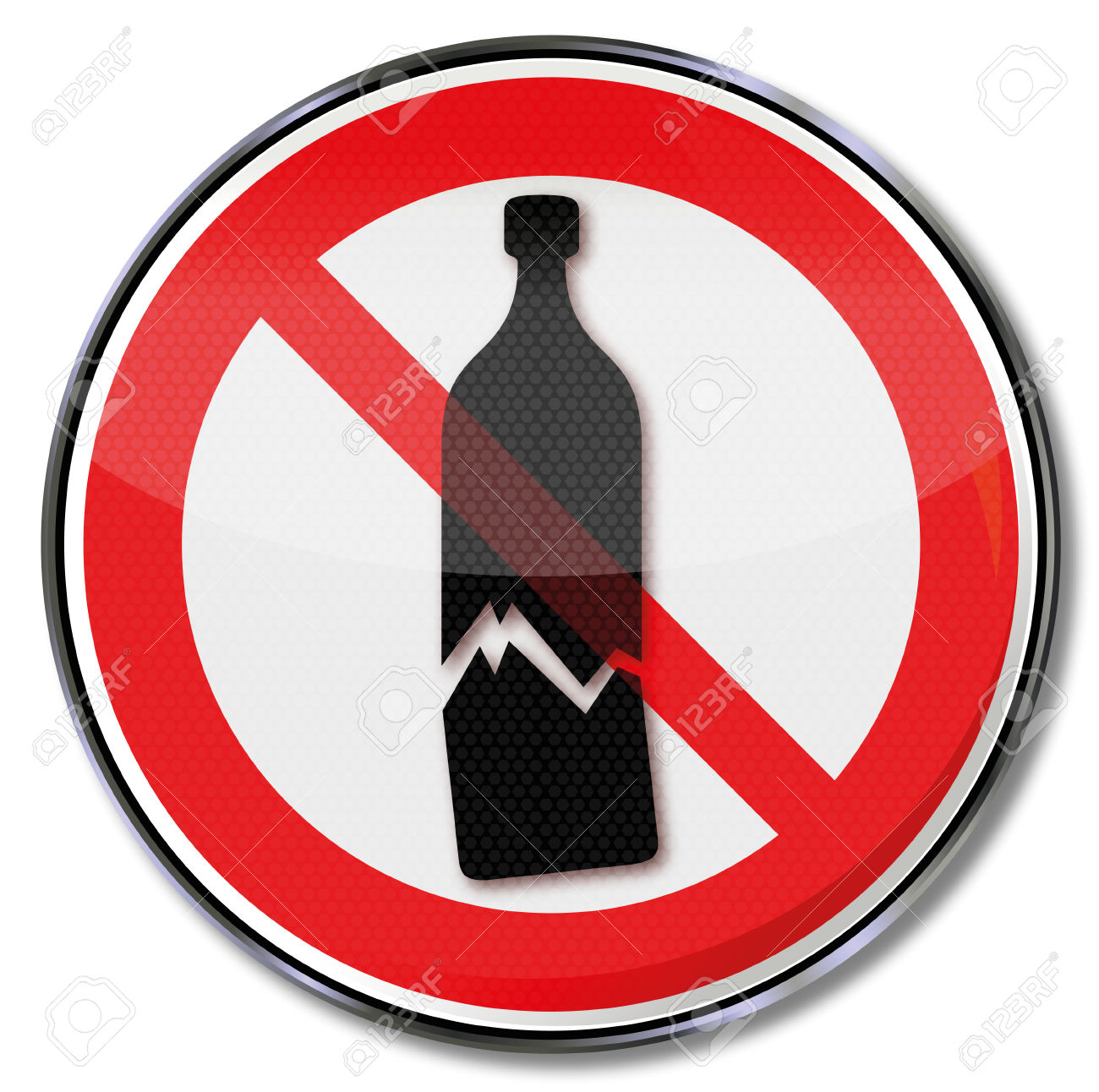 Prohibition Sign Warning Of Possible Glass Breakage And Sensitive.