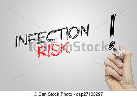 Stock Photographs of Hand writing infection risk on grey.