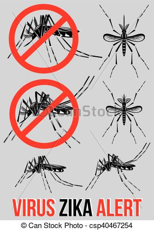 Clipart Vector of Set of templates, elements with mosquito for.
