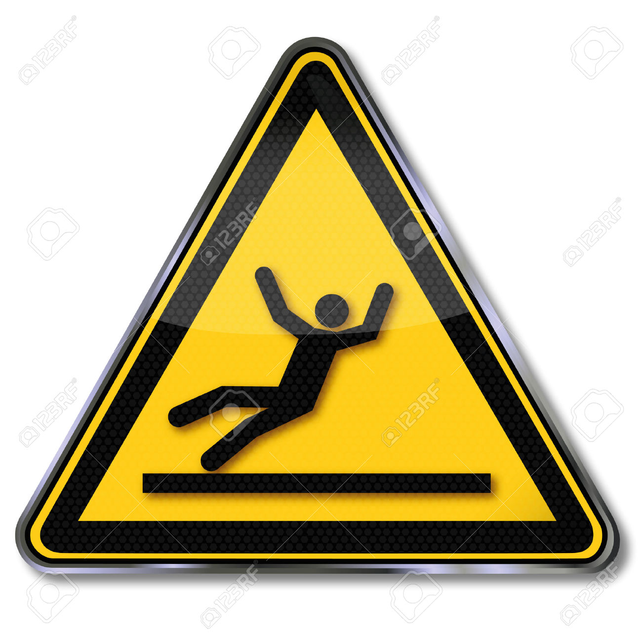 Danger Sign Warning Risk Of Slipping Royalty Free Cliparts.