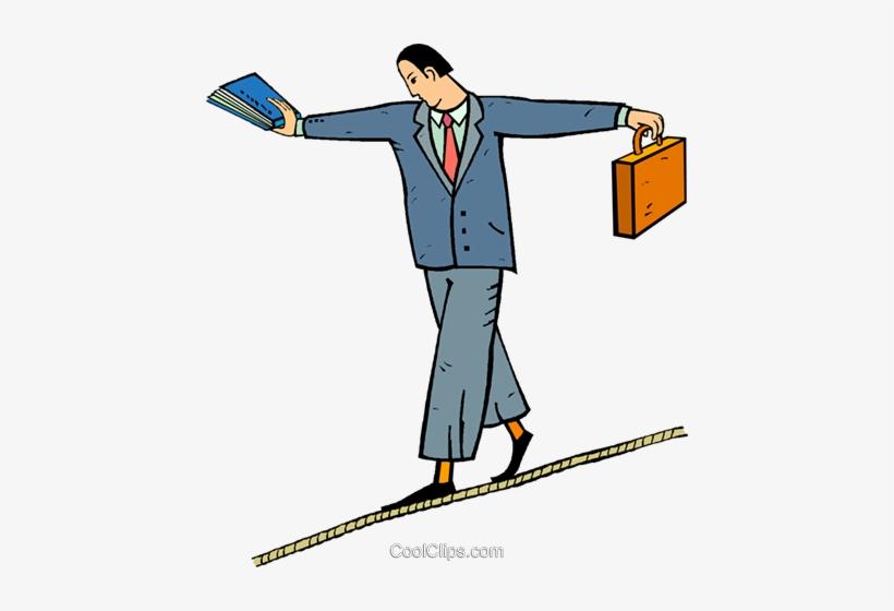 Tight Rope Walker Royalty Free Vector Clip Art Illustration.