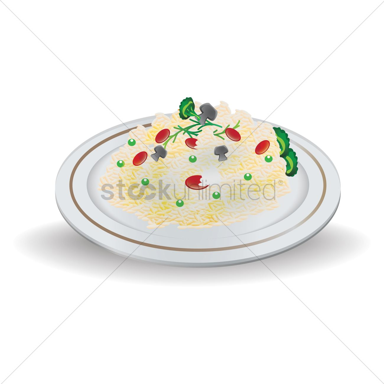 Risotto on a plate Vector Image.