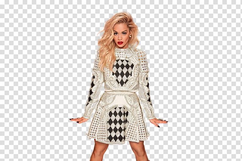 Rita Ora, woman wearing black and white long.