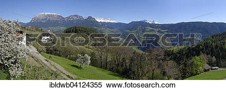 Stock Image of Landscape near Unterinn on the Ritten Renon with.