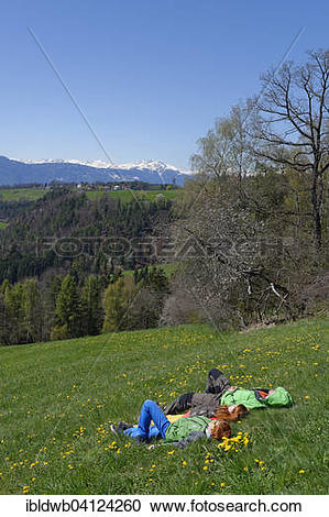 Stock Photography of Hikers having a rest, near Wolfsgruben.