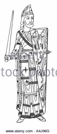 Medieval Knight Shield Sword Standing Cartoon Stock Photo, Royalty.
