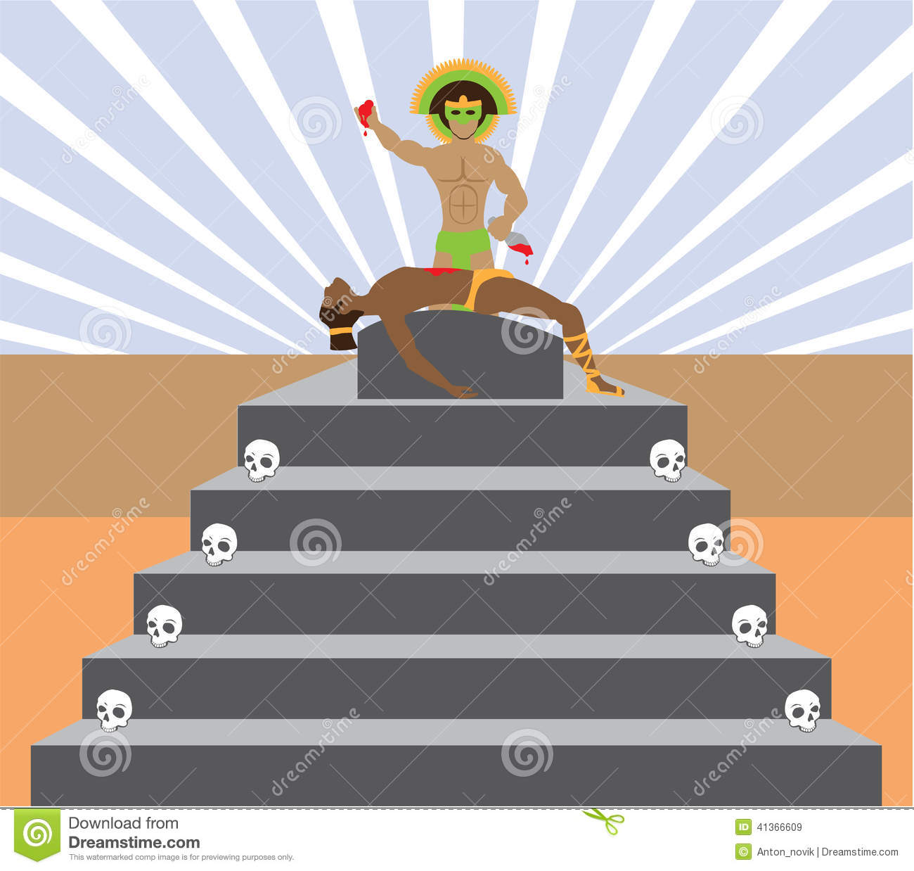 Aztec Ritual Stock Vector.