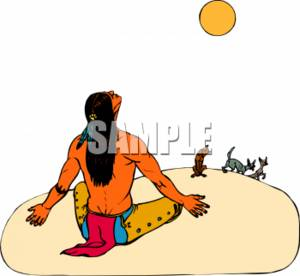 Clipart Picture of an American Indian Man During a Ceremony.