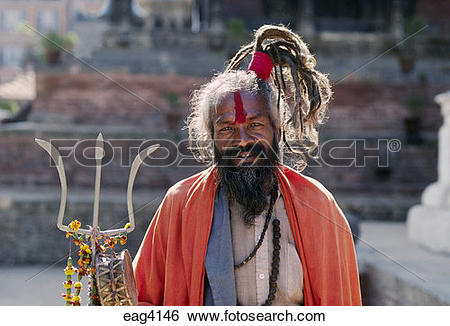 Stock Images of A SHAIVITE SADHU, Hindu follower of Shiva, with.