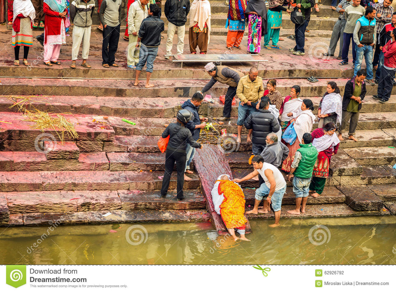 Hindu People Attend A Religious Burial Ceremony In Nepal Editorial.