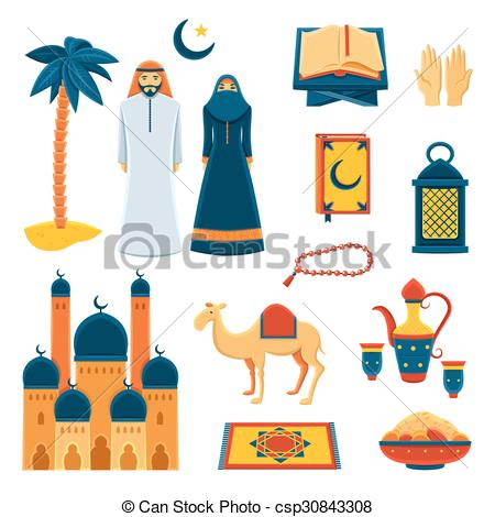 Vector Clipart of Islam religion flat icons set.