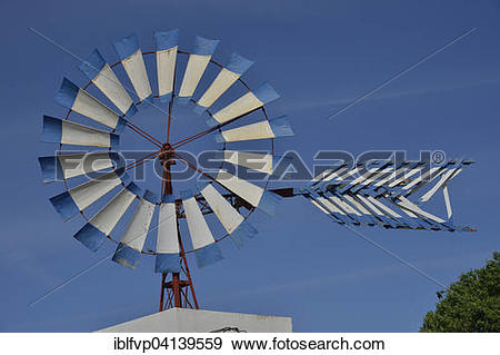 Stock Photograph of Windmill on a restaurant, near Santa Eulalia.