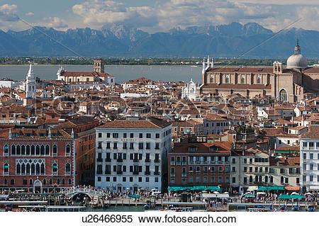 Stock Image of Aerial view of Riva degli Schiavoni, La Pieta.