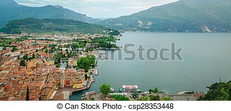 Stock Photo of Lake Garda, Riva del Garda, HD panorama collage.