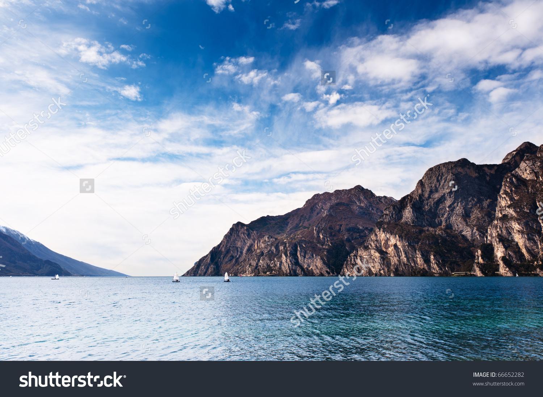 Mountain Lake Lago Di Garda View From Riva Del Garda Side. Popular.