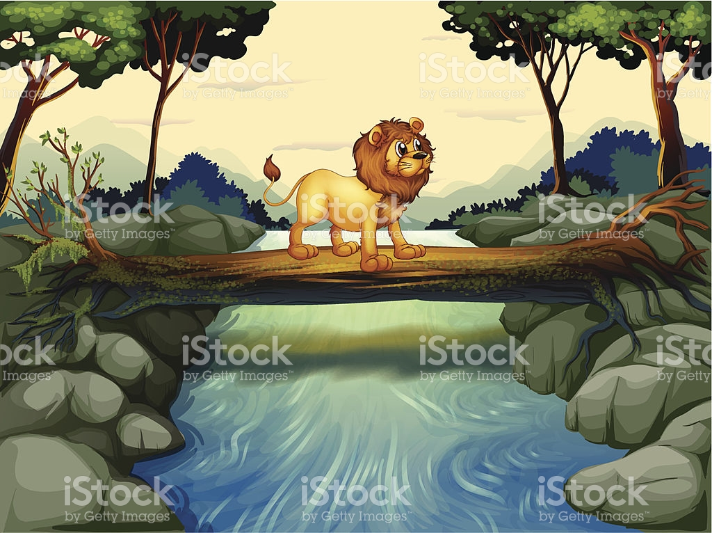 Lion Crossing The River stock vector art 452213817.