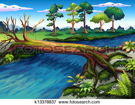Clip Art of A tree with algae at the river k13378837.