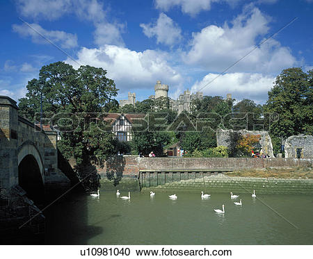Stock Photography of England, West Sussex, Arundel, The castle at.