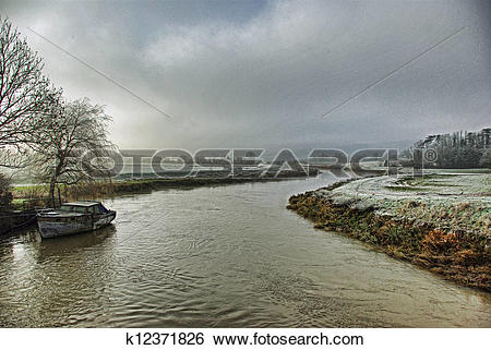 Stock Images of The river Arun at Amberley k12371826.