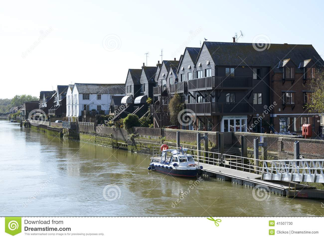 Houses By River Arun. Arundel. England Editorial Image.