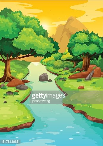 Forest With A River Background Vector premium clipart.