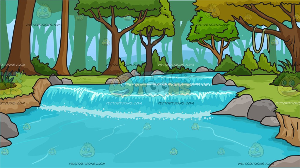 River Running Through A Forest Background Cartoon Clipart.