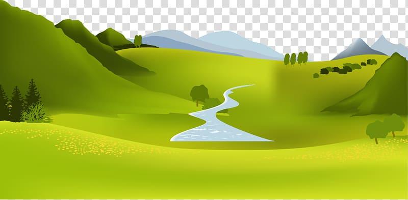 Green open field illustration, Mountain river Landscape.
