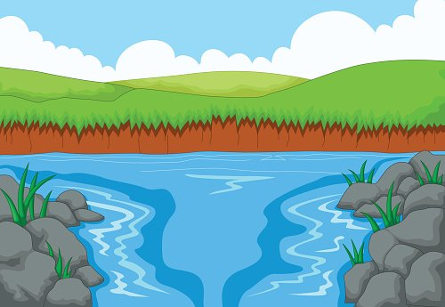 Beauty River With Landscape View Background premium clipart.