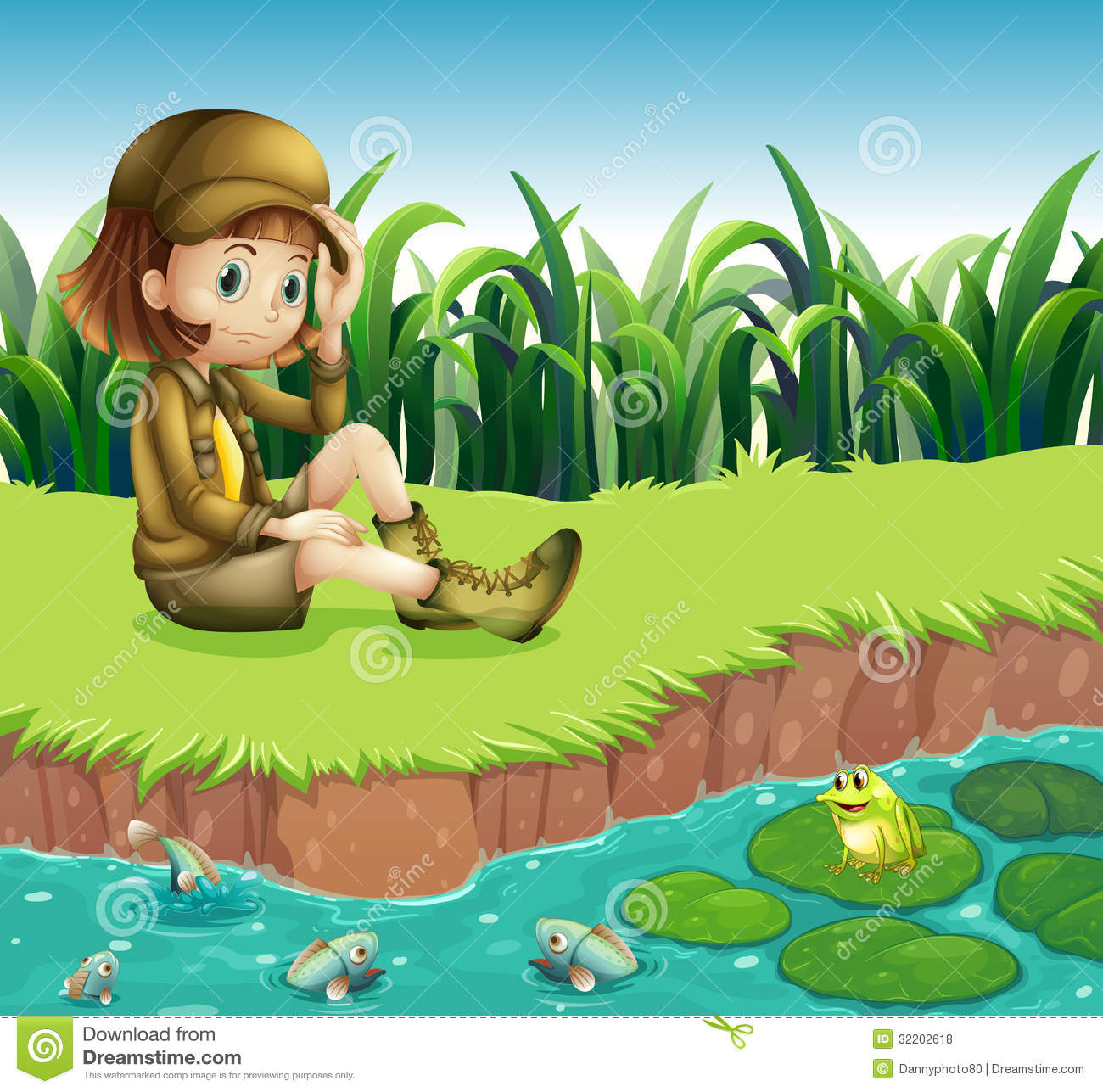 A Girl Wearing A Hat Sitting At The Riverbank Royalty Free Stock.