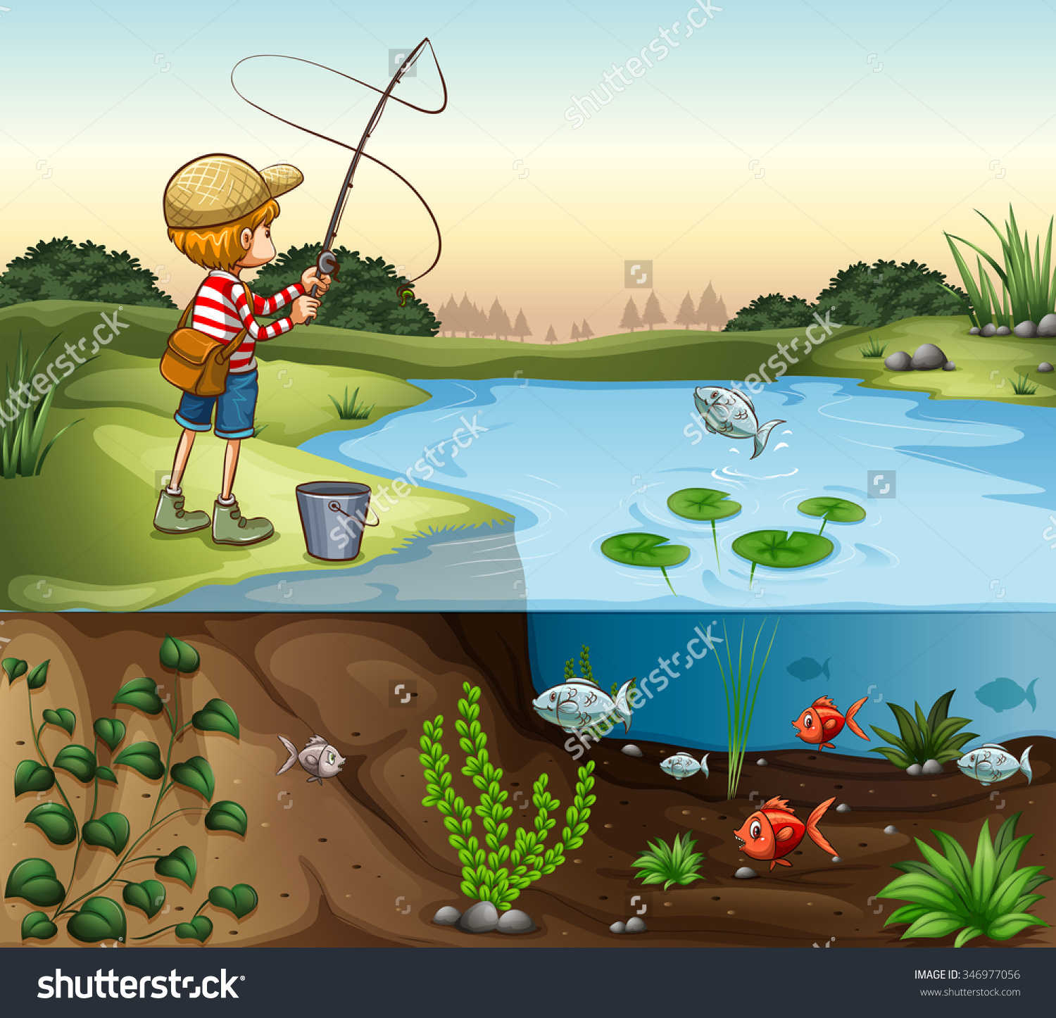 Boy On River Bank Fishing Alone Stock Vector 346977056.